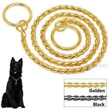 Snake Chain Dog Show Collars Heavy Metal Chain Dog Training P Choke Collar Gold