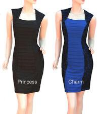 Black Blue Cocktail Bodycon Pencil Dress Lace & Pleat Panels Size 8 10 12 14 16