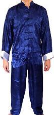 Asia kung-fu, tai-chi, China/Japón Shaolin traje Suit seda azul oscuro Gr. m-XXXL