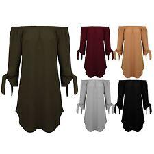 Para mujer Bardot Hombro Corbata Nudo manga dobladillo vestido túnica Crepé Dip Curvo