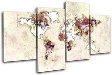 World Atlas Floral Vintage Maps Flags Multi Canvas Wall Art Picture Print