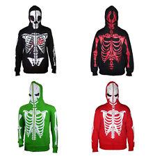 Mens Full Face Mask Skeleton Skull Hoodie Sweatshirt Halloween Costume T-Shirt