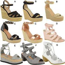 Mujer señoras Cuña Tacones Altos Sandalias De Fiesta De Noche De Boda Verano Zapatos Talla