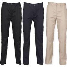 Hombre Henbury algodón poliéster plano al frente Pierna Recta Pantalones Chinos