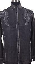 Men's Tribal Border Embroidered Design Western Cowboy Black Shirt Stonewashed 43