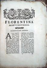 1764 DOCUMENTO LEGALE FIORENTINO FIRENZE CAUSA PER MANUTENZIONE DI BENI