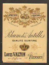 """RENNES (35) ETIQUETTE de RHUM SURFINE """"Louis VALTON"""""""