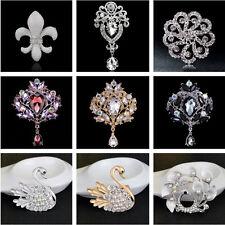 New Flower Brooch  Rhinestone Crystal Diamante Party Wedding Bridal Pin Party UK
