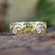 Hawaiian 925 Silver Gold Plated Scroll Flower Queen Wedding Ring Band 6mm SR1735