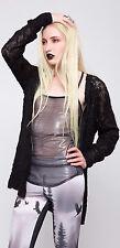 Lip Service Widow Goth Punk Industrial Black Zip Up Front Cardigan Sweater