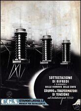 PUBBLICITA' 1935 CGS  STRUMENTI MISURA TRASFORMATORE RIFREDI FIRENZE FERROVIA