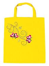 Bolsa De Algodón Bolsa de tela piedra brillante mariposas 088xx AMARILLO
