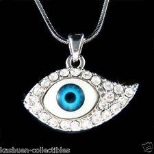 w Swarovski Crystal Jewish Judaism ~Big Evil Eye Nazar Protection Charm Necklace