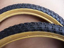 Pair Retro Old School Comp 3 Tread BMX Bicycle Tyres Amber Wall New Burner Bike