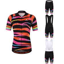 Zebra Women's Cycling Wear Bike Bicycle Jersey Shirts and Padded Bib Shorts Kit