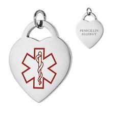 PENICILLIN ALLERGY Stainless Steel Medical Heart Pendant, Free Bead Ball Chain