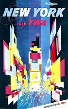 REPRO AFFICHE NEW YORK FLY TWA USA AMERIQUE AVION SUR PAPIER 310 OU 190 GRS