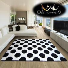 incroyable épais Tapis Modernes brouillon Blanc Noir F761 à pois taille
