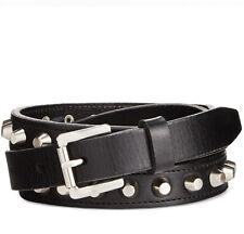 Women's  MICHAEL KORS Silver Studded Pebble Grain Leather Belt 553355 Black $55