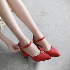 zapatos de salón mujer rojo talón cuadrado 9 cm como piel elegantes 9686