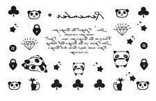 Elegant Black & White Temporary Tattoo - Panda, Cats & Diamond