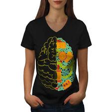 Brain Nerd Computer Geek Women V-Neck T-shirt NEW | Wellcoda