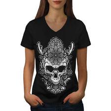 FASHION Art Fiore Teschio Donne V-Neck T-shirt Nuove | wellcoda