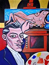 PORTRAIT of SALVADOR DALI PRINT poster fro-art pop art spanish surrealism easel
