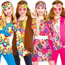 Girls Hippie Fancy Dress Costume 1960s 70s Hippy Kids Fancy Dress Retro Outfit N