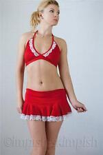 MADAM D Red Bikini Top & Mini Skirt Lace Trim Set