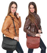 WOMENS Shoulder Leather Bag Black Brown Large Flapover Multi Zip Top Satchel BAG
