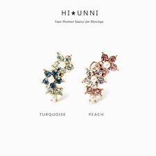 16g Pearl flower cartilage earring, helix earring stud jewelry,conch earring,1pc