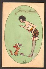BONNE ANNEE / CHIEN dressé & FEMME en sous-vetements ... illustré par F. MILE