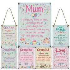 Metal Sentiment Love Family Plaque Hanging Signs Mum Dad Friends Nan Grandad