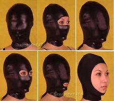 Halloween party lycra spandex zentai costume shiny metallic Black Mask/Hood