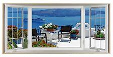 Santorini Greek Island Cruise 3D Effect Bay Window Canvas Picture Wall Art Print