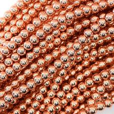 "Rose Gold Hematite Round Beads Gemstone 15.5"" Strand S2 2mm 3mm 4mm 6mm 8mm 10mm"
