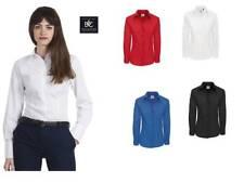 camicia donna manica lunga da lavoro popeline 100% cotone pettinato b&c
