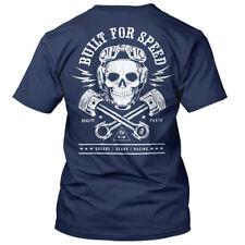 Steady Clothing rockabilly vintage Biker t-shirt-built for Speed azul oscuro