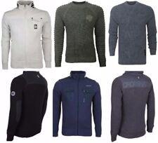 NEW Mens Crosshatch Jacket Fleece Lined Jumper Zip Up Knitted Top Knitwear Shirt