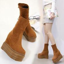 Womens Suede Mid-calf Boots High Hidden Wedge Heel Platform Shoes Velvet Vintage