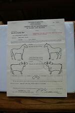Old Vintage 1940 Certificate Agriculture Marks Brands Branding Horse Cow Oregon