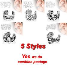 New Design Rhodium Plated Brass Non Piercing Ear Cuff, 5 Styles 9mm Width