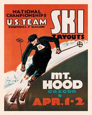 Ski Skiing Race U.S. Team Mt. Hood Oregon Sport Vintage Poster Repro FREE S/H
