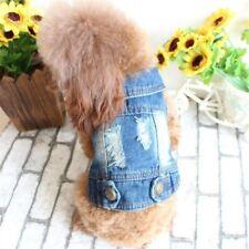 Hole Dog Clothes Dog Vest Jeans Puppy Denim Dog Coat Jacket For French Bulldog