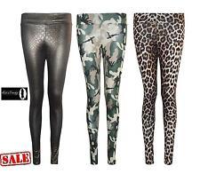 NUOVO Donna Animale Leopardo CAMOUFLAGE GRAFICA SNAKE SKIN Leggings Pantaloni Taglia 8-14