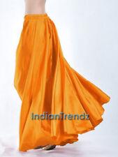 Golden - 360 Full Circle Satin Long Skirt Swing Belly Dance Costume Tribal