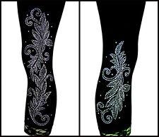 Plus Capri Leggings Embellished Crystal Rhinestone & Stud Shiny Silver Leaves