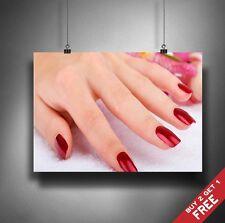 MANICURE PEDICURE Poster A3 A4 * Salute Bellezza Spa Salon RED Nails Hand Print
