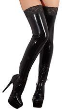 Heiße Strümpfe lang Schwarz mit Spitze Gummi Rubber Kautschuk Gr XS, S, M, L, XL